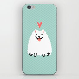 Fluffy White Pomeranian with Heart iPhone Skin