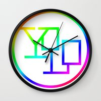yolo Wall Clocks featuring Yolo  by Office Party