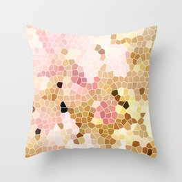 Flower Mosaic Millennial Pink and Golden Yellow Abstract Art | Honey Comb | Geometric Throw Pillow