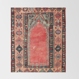 Sivas  Antique Cappadocian Turkish Niche Kilim Print Throw Blanket