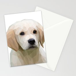 Adorable White Puppy Lowpoly Art Illustration Stationery Cards
