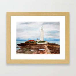 St. Mary's Lighthouse Watercolor Painting Framed Art Print