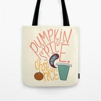 spice Tote Bags featuring Pumpkin Spice by Chelsea Herrick