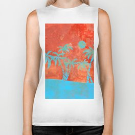Tropical sunset with blue palm trees Biker Tank