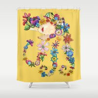 sleeping beauty Shower Curtains featuring Sleeping Beauty by Shelley Ylst Art