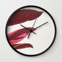 Red Leaves I Wall Clock