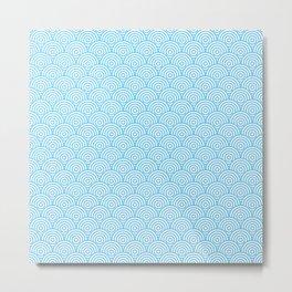 Light Blue Concentric Circle Pattern Metal Print