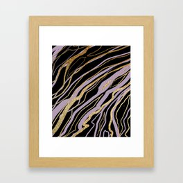 Lavender Black and Gold Marble Framed Art Print