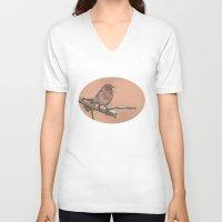 robin V-neck T-shirts featuring Robin by Meredith Mackworth-Praed