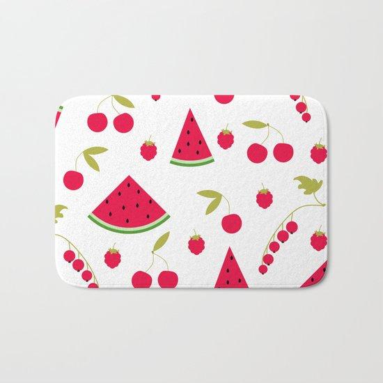 Pattern watermelon cherry raspberry currant Bath Mat