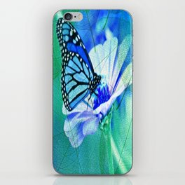 Butterfly, Flower And Leaves iPhone Skin