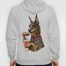 Dog with a drink. Hoody