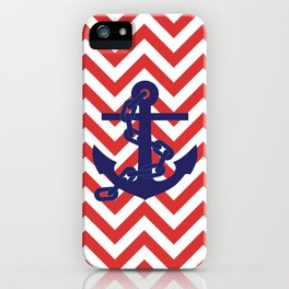 Blue Anchor on Red and White Chevron Pattern iPhone Case