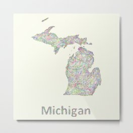 Michigan map Metal Print