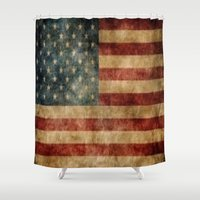 american flag Shower Curtains featuring American Flag by KOverbee