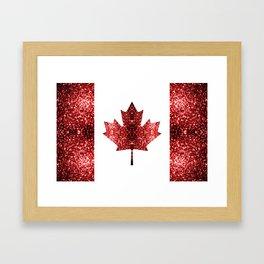 Canada flag red sparkles Framed Art Print