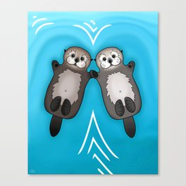 Otters Holding Hands - Otter Couple Canvas Print