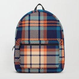 Colorful plaid pattern in blue, orange, beige. Herringbone textured seamless bright tartan check plaid graphic Backpack