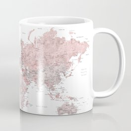 Dusty pink and grey detailed watercolor world map Coffee Mug