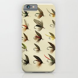 Vintage Fly Fishing Print - Trout Flies iPhone Case