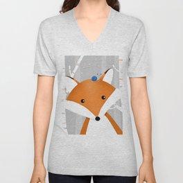 Fox and snail Unisex V-Neck