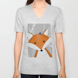 Fox and snail Unisex V-Neck