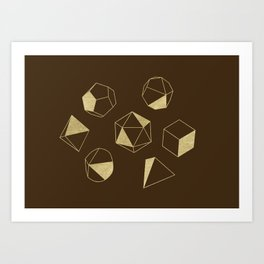 Dice Outline in Gold + Brown Art Print