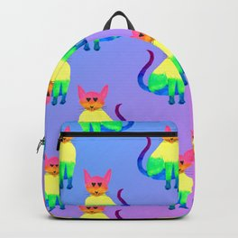Rainbow Cat Pattern with Blue Pink Gradient Backpack