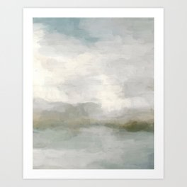 Modern Abstract Painting, Light Teal, Sage Green, Gray Cloudy Weather Digital Prints Wall Art, Ocean Art Print