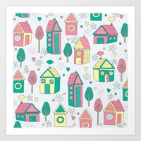 home sweet home Art Prints featuring Home by One April