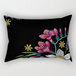 Embroidered Flowers on Black Corner 02 Rectangular Pillow