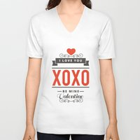 valentines V-neck T-shirts featuring Valentines Day by cat&wolf