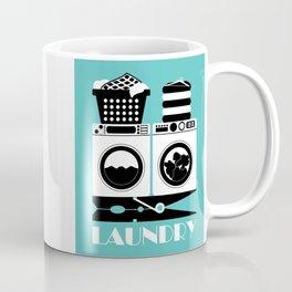 Retro Laundry Sign - Turquoise, Black and White Coffee Mug