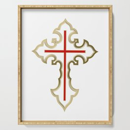 Golden Christian cross Serving Tray