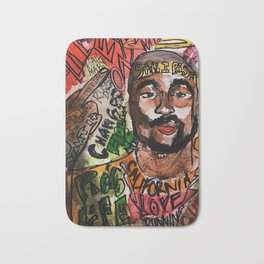 thug,rapper,rap,hiphop,music,rip,fan art,graffiti,street art,poster,colorful,lyrics,music,wall art Bath Mat