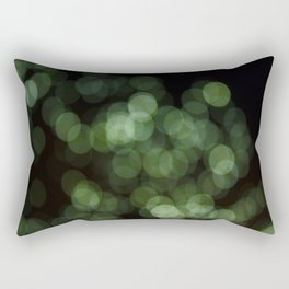 Bokeh Blurred Lights Shimmer Shiny Dots Spots Circles Out Of Focus Green Rectangular Pillow