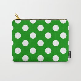 Islamic green - green - White Polka Dots - Pois Pattern Carry-All Pouch