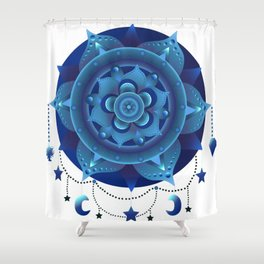 Blue monochromatic mandala dream catcher Shower Curtain
