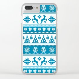 Christmas Holiday Nordic Pattern Cozy Clear iPhone Case