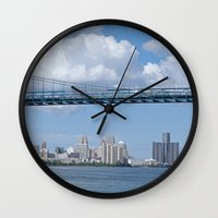 detroit Wall Clocks featuring Nearing Detroit by Ann Horn