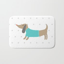 Cute hand drawn dog in dotted background Bath Mat
