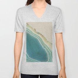 Geode Turquoise + Cream Unisex V-Neck