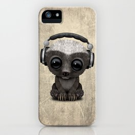 Cute Baby Honey Badger Dj Wearing Headphones iPhone Case