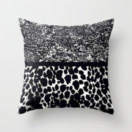 Animal Print Leopard Gray White and Black Throw Pillow
