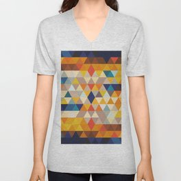 Geometric Triangle - Ethnic Inspired Pattern - Orange, Blue Unisex V-Neck