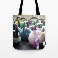 crossfit Tote Bags featuring Kettlebell Gang by StirlingStudio