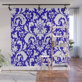Paisley Damask Blue and White Wall Mural