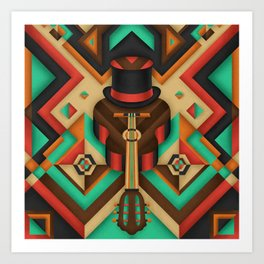 Geometric Guitar Art Print