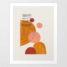 'Space Bubbles' Earth Tones Neutral Warm Colors Fun Space Shapes Yellow Ochre Tan Brown by Ejaaz Haniff Art Print