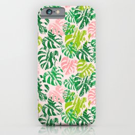 Monstera Leaves Rose iPhone Case